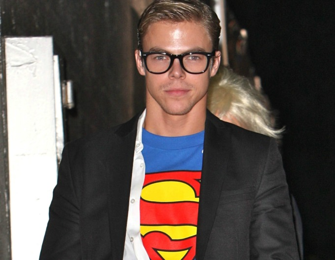 Derek Hough dressed as Superman for Halloween 2009