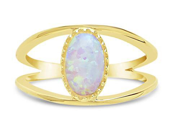 Gorgeous Jewelry Finds That Look Expensive: 14k Gold Sterling Silver Created Opal Gemstone Open Band Ring | Inexpensive Jewelry Trends