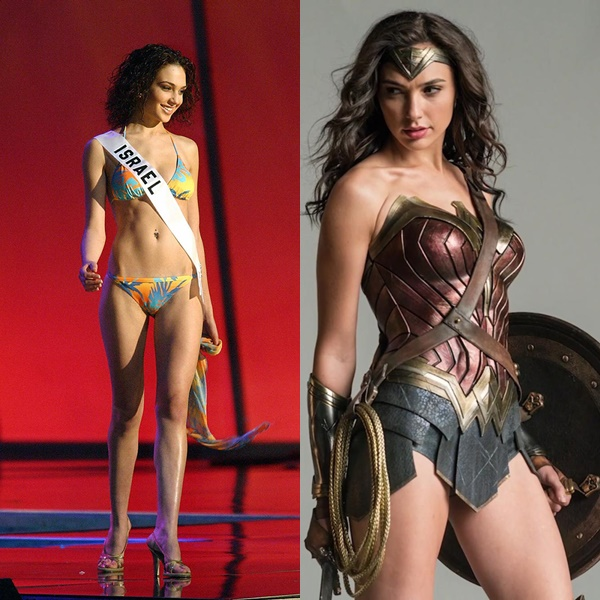 Gal Gadot in 2004 and now