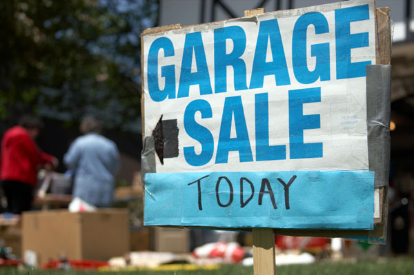 Garage Sale Sign with Shoppers