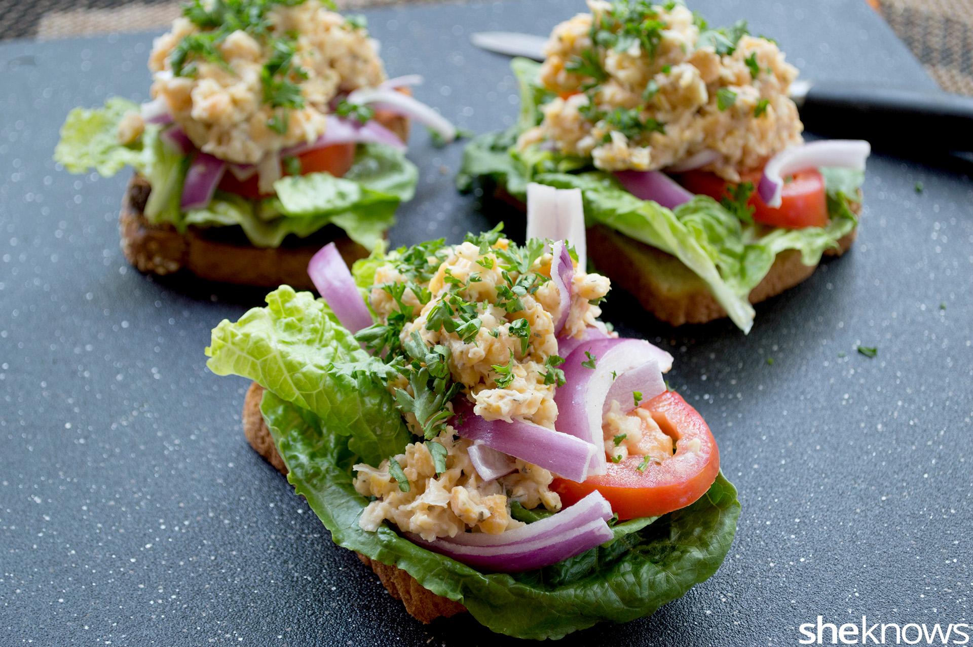 Open-faced garbanzo bean salad sandwich recipe