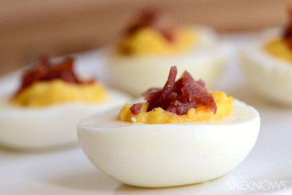Bacon & cheese deviled eggs