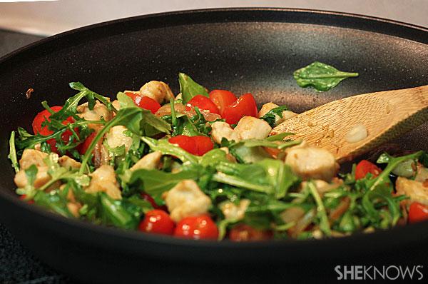Garlic chicken pasta with arugula   Sheknows.com - add vegetables