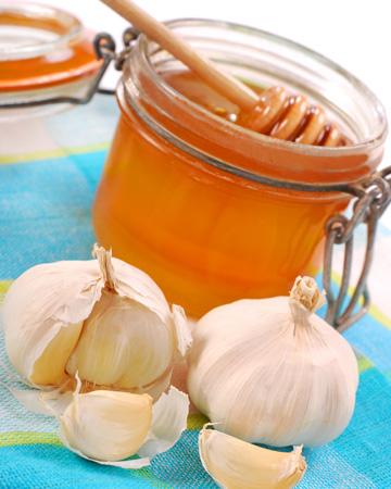 Garlic infused honey in a jar