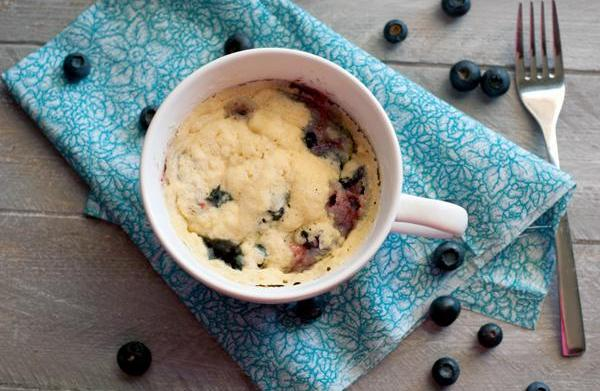 2-minute blueberry muffins for one