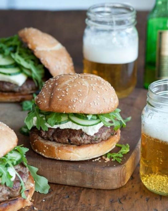 Unconventional cheeseburger recipes: lamb burger with feta and cucumbers