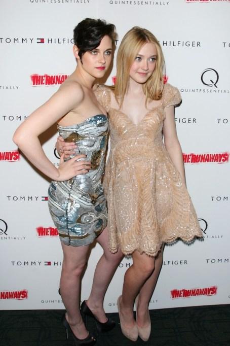 Dakota Fanning and Kristen Stewart at the Premiere of 'The Runaways'