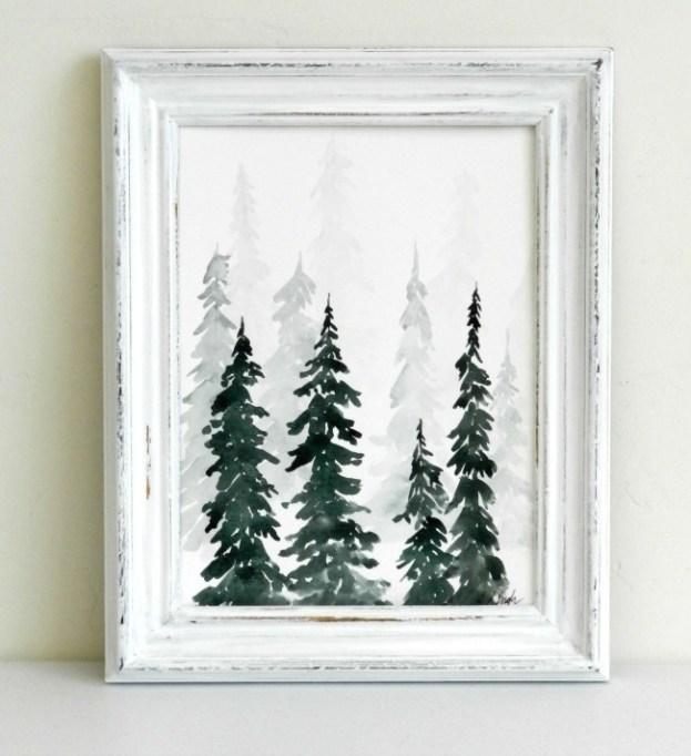 Winter Decor DIYs: Watercolor forest