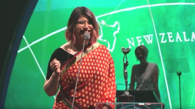 Privahini Bradoo speaking at an event