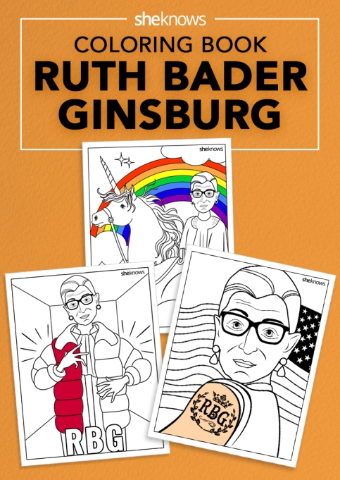 Ruth Bader Ginsburg coloring book pin image