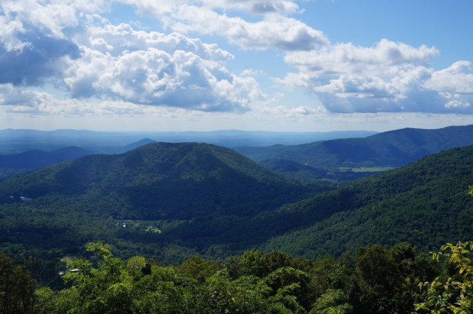 Green mountains and blue sky with clouds at Shenandoah National Park