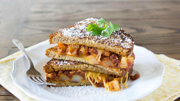 Cheesy Mexican-style stuffed French toast sandwiches