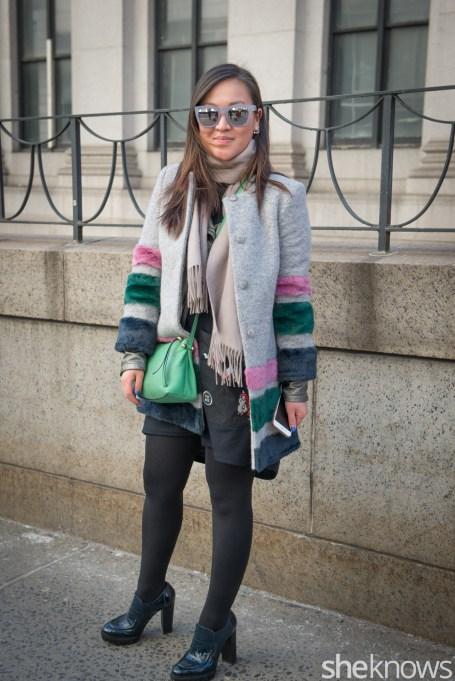 Bag, glasses, scarf, jacket