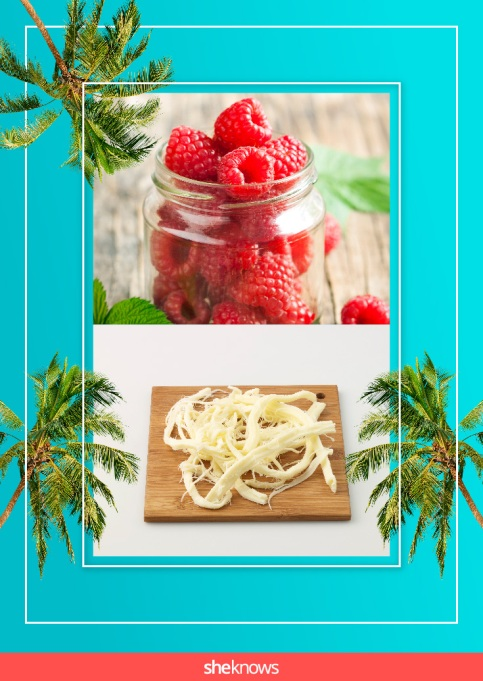 Raspberries and string cheese