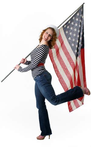 Woman with American Flag