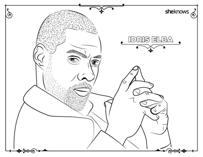 Idris Elba coloring-book page