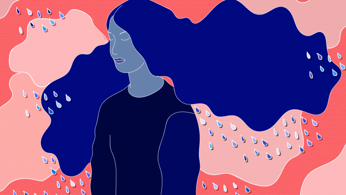 Blue woman on pink background