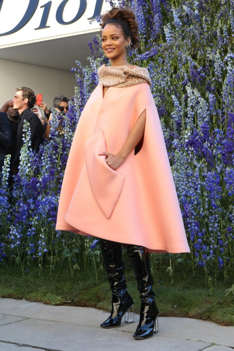 Rihanna pink cape