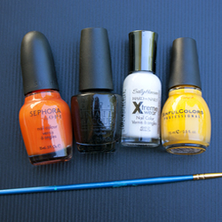 Nail polish colors for the San Francisco Giants nail design
