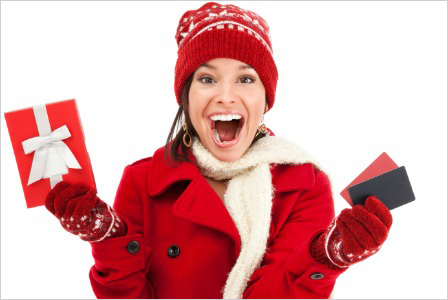 Woman receiving gift cards