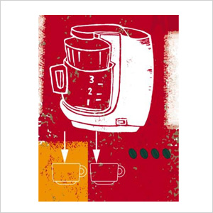 A Coffee Maker and Two Cups