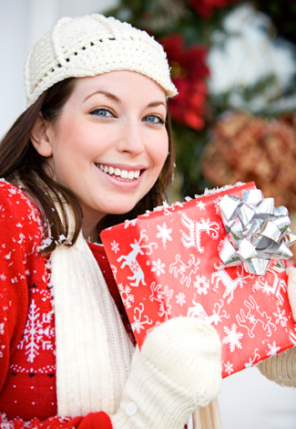 Woman Arriving with Gift