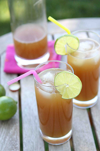 Ginger beer and pineapple rum punch