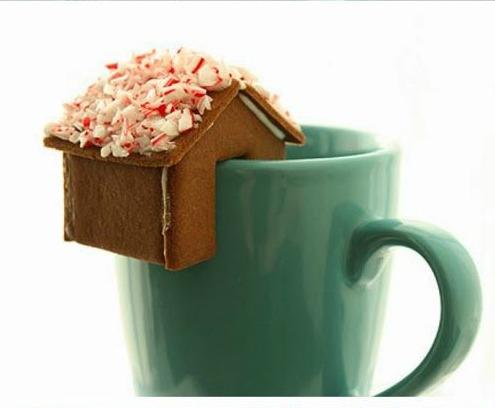 Gingerbread house on a coffee mug by Not Martha