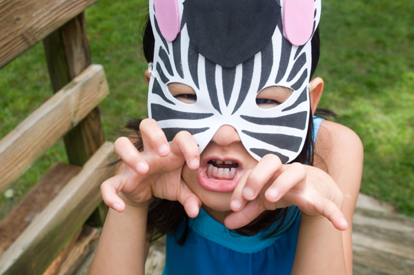 Girl in homemade zebra costume