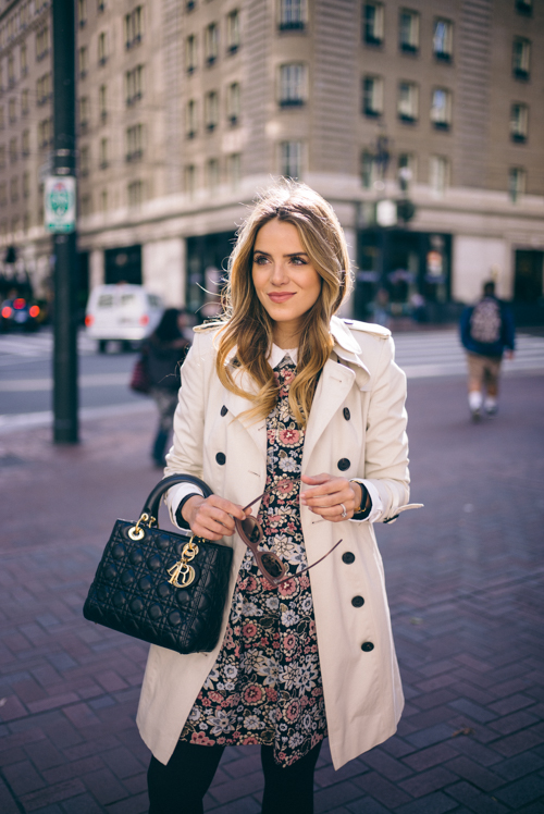vintage floral winter outfit
