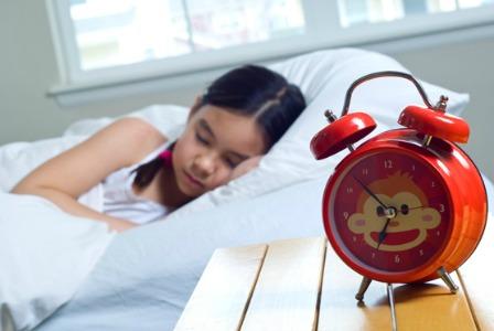 Sleep girl in the morning