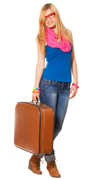 Brightly dressed girl with suitcase