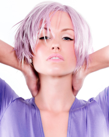 Girl with short purple dyed hair