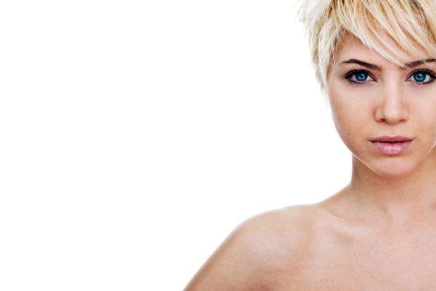 Girl with stylish short blonde hair