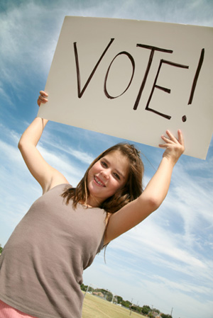 Girl with Vote Sign