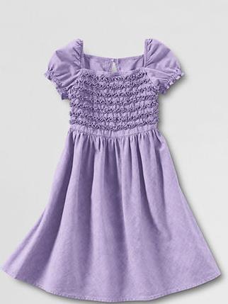Girls' purple ruffled dress