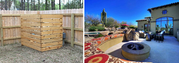 Camouflage the pool pump and add a fire pit