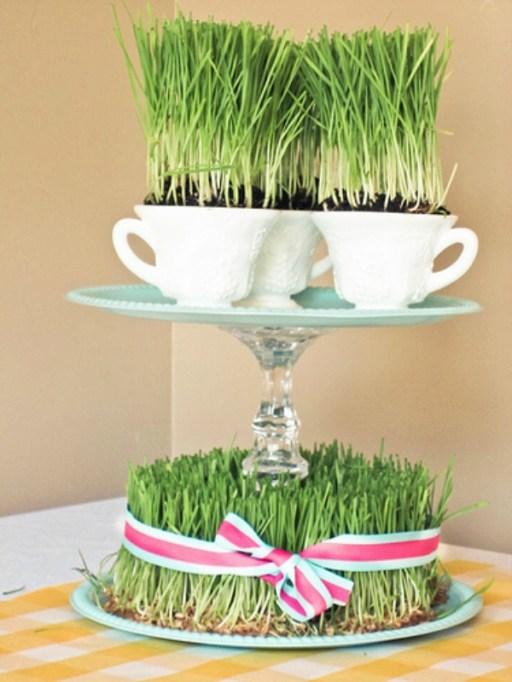 wheatgrass spring centerpiece