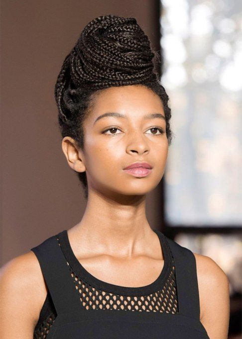 Box Braids Styled into an Updo
