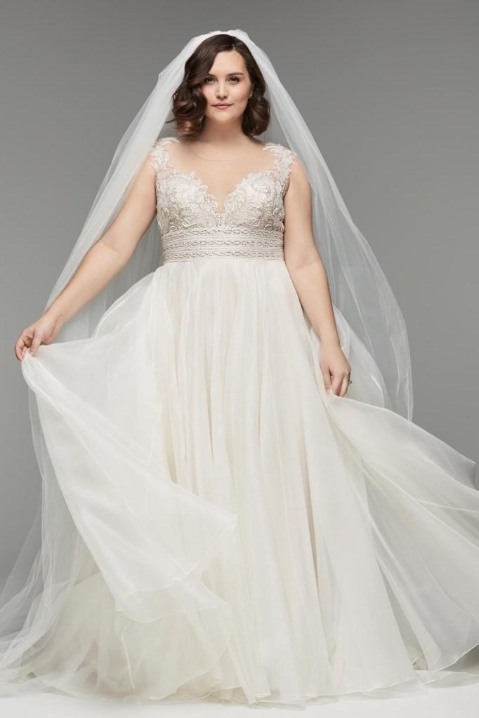 Silk Organza Skirt With Floral Sleeves Wedding Dress