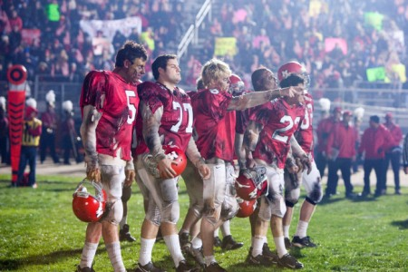 Glee takes the field after the Super Bowl