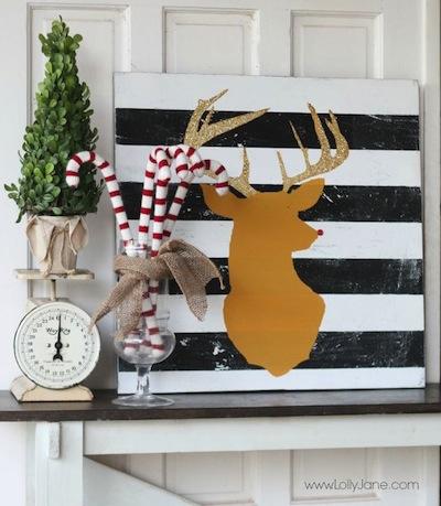 Glitter reindeer painting