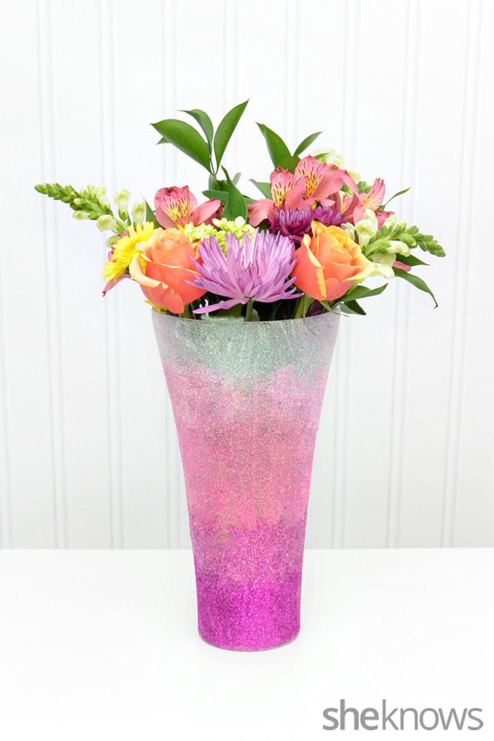 Ombre glitter vase