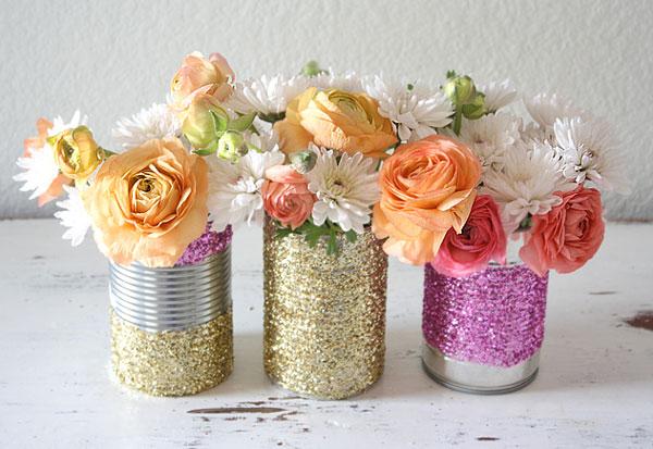 Upcycled glitter vase