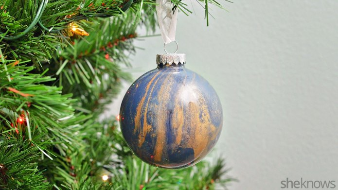 Super-easy marbled glass ornaments are a