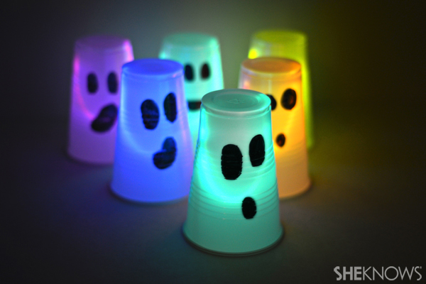 Halloween glow-in-the-dark cup bowling