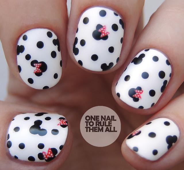 Minnie Mouse polka dots nail art