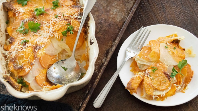 Scalloped Parmesan sweet potatoes will be