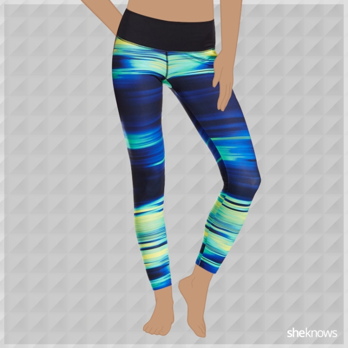 Neon blue and green athleisure leggings