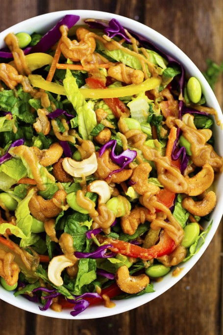 Yummy Winter Salads You'll Actually Crave   Thai Cashew Chopped Salad with a Ginger Peanut Sauce